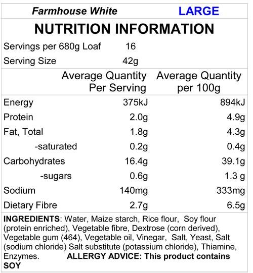 New Freedom Bakery Farmhouse White Loaf Nutrition Panel